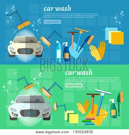Car wash banner clean car auto cleaner washer shower service vector illustration