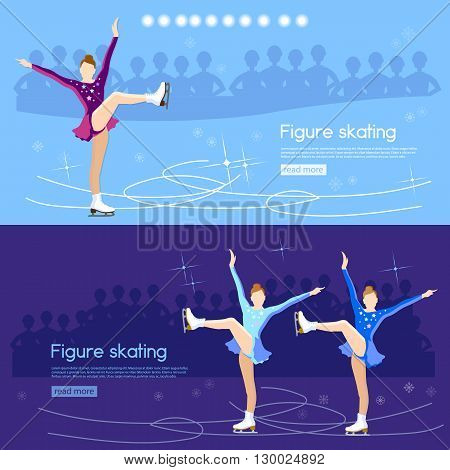Figure skating banner ice dancing winter sport figure skating cute girl training on the ice vector illustration
