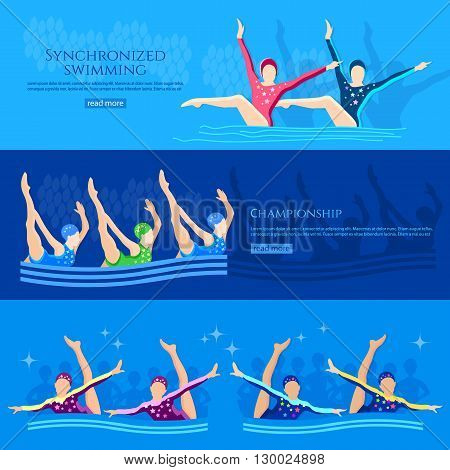 Synchronized swimming banners water sport swimmers team vector illustration