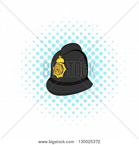 British police helmet icon in comics style on a white background