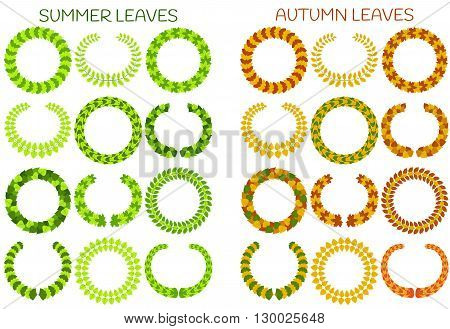 Foliate wreaths set.  Autumn and summer leaves. Vector illustration.