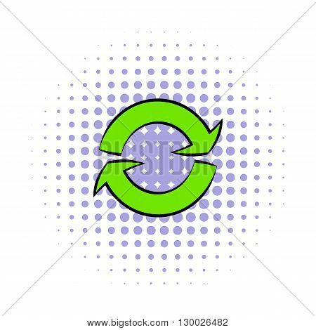 Green circular arrows icon in comics style on a white background