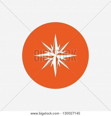 Compass sign icon. Windrose navigation symbol. Orange circle button with icon. Vector