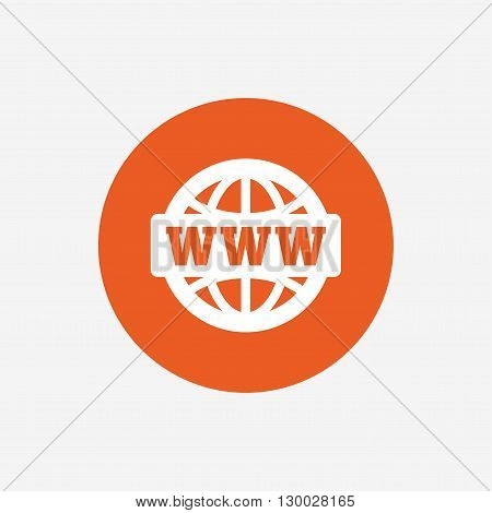 WWW sign icon. World wide web symbol. Globe. Orange circle button with icon. Vector