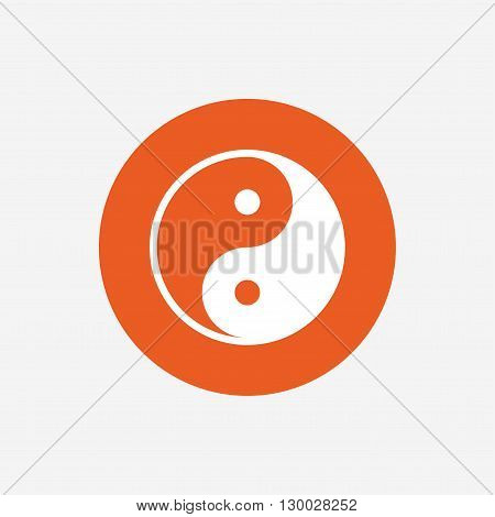 Ying yang sign icon. Harmony and balance symbol. Orange circle button with icon. Vector