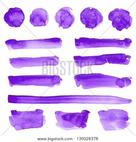 Watercolor hand drawn square round and prolonged shapes stripes set in purple color isolated on white
