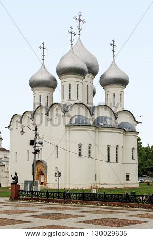 Vologda, Russia - May 24: It is the ancient St. Sophia Cathedral built in the 16th century by order of the Russian Tsar Ivan the Terrible May 24, 2013 in Vologda, Russia.