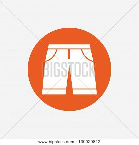 Men's Bermuda shorts sign icon. Clothing symbol. Orange circle button with icon. Vector