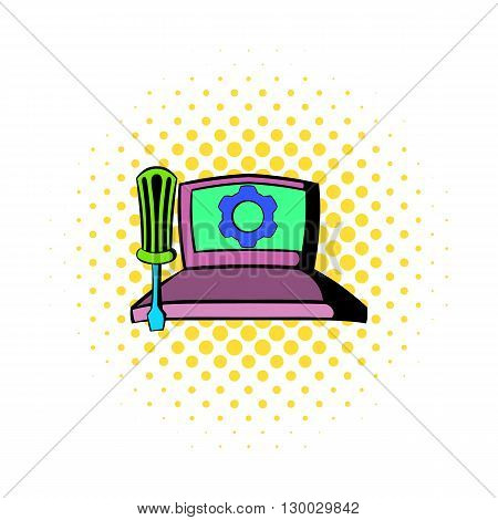 Technical support, computer repair service icon in comics style on a white background