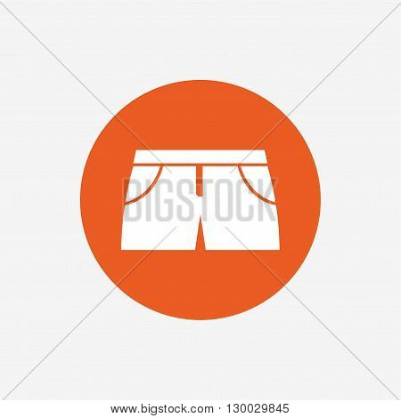 Women's sport shorts sign icon. Clothing symbol. Orange circle button with icon. Vector
