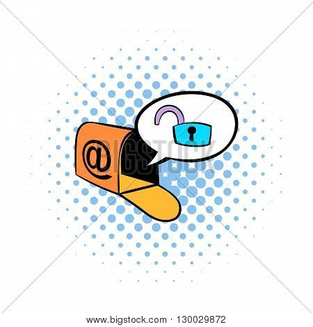 Mailbox with padlock icon in comics style on a white background