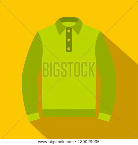 Green long sleeve polo shirt icon in flat style on a yellow background