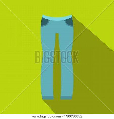 Woman blue trousers icon in flat style on a green background