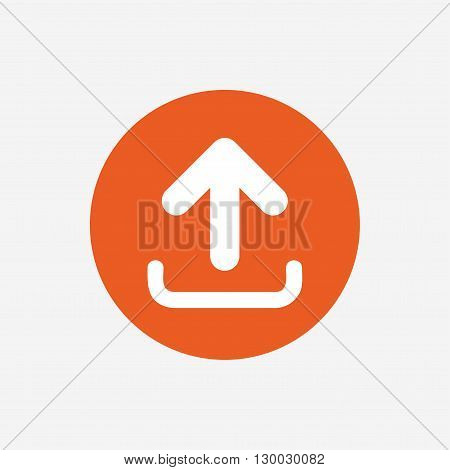 Upload sign icon. Upload button. Load symbol. Orange circle button with icon. Vector