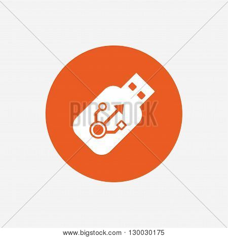 Usb sign icon. Usb flash drive stick symbol. Orange circle button with icon. Vector