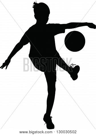 Young football player kicking a ball vector silhouette