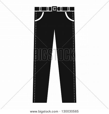 Trousers with belt icon in simple style on a white background