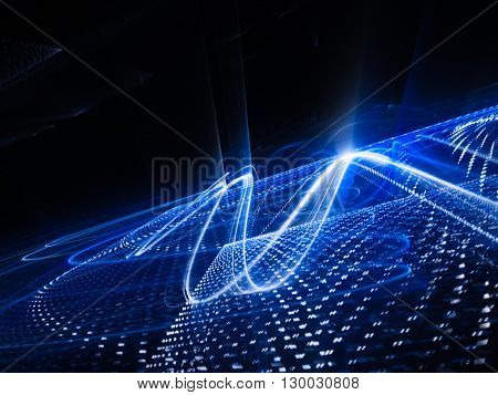 Abstract background element. Fractal graphics series. Three-dimensional composition of glowing lines and halftone effects. Information and energy concept. Blue and black colors.