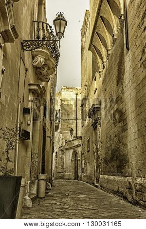 Streets of the historic center of Lecce. Baroque architecture