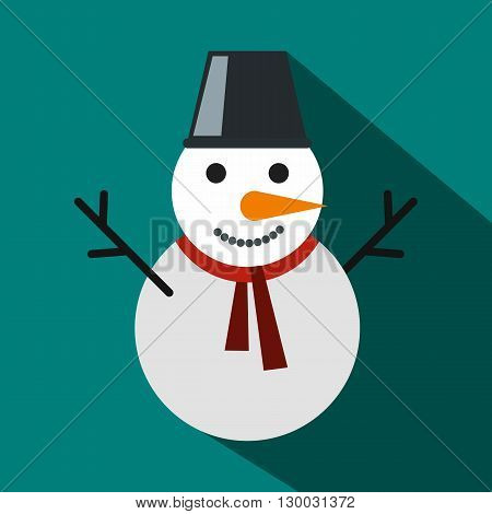 Snowman icon  in flat style with long shadows