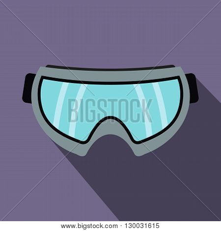 Snowboarding goggles icon in flat style with long shadows