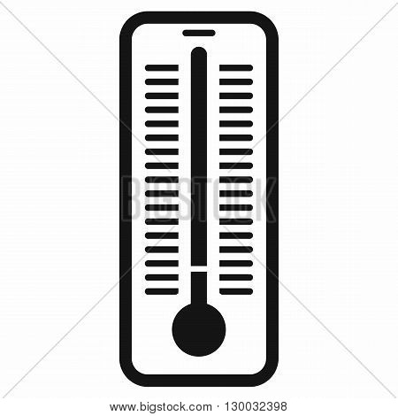 Outdoor thermometer icon in black simple style isolated on white background