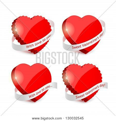 Decorative set of red hearts and white ribbons with text