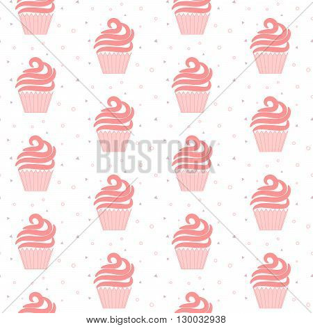 Pink cupcake seamless pattern. Sweet cake light cartoon texture design. Patisserie package and website background tileable design.