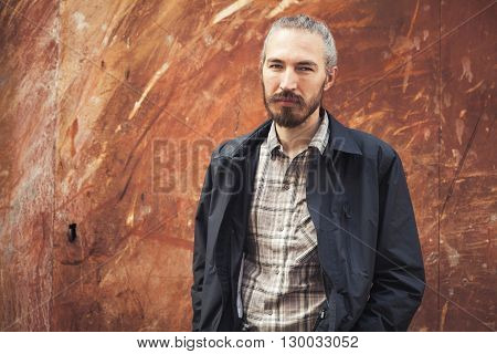 Bearded Asian Man In Casual Clothes