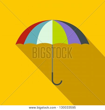 Open colorful umbrella icon in flat style on a yellow background