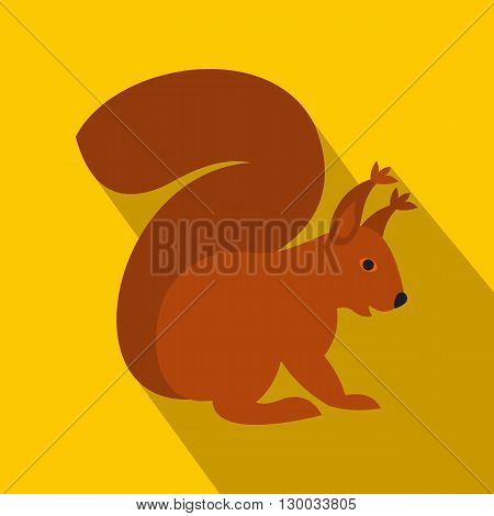 Squirrel icon in flat style on a yellow background