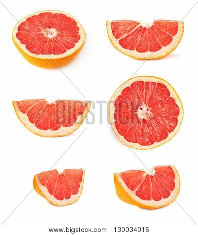 Dried old grapefruit cut in half isolated over the white background