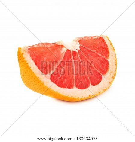 Dried old small slice section of grapefruit isolated over the white background