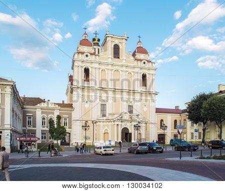 Vilnius Lithuania - August 16 2013. St. Casimir's Church (Sv. Kazimiero Baznycia) in Vilnius Lithuania