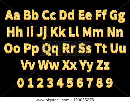 Vector illustration volumetric gold letters on a black background. English alphabet with numbers. Large and small letters. 3d letter.