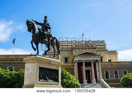 Old Greek Parliament in Athens and the statue of Kolokotronis