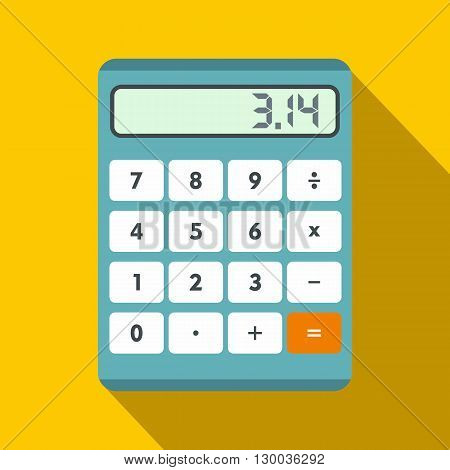 Calculator icon in flat style on a yellow background