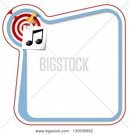 Blue frame for your text with the tack target and music symbol