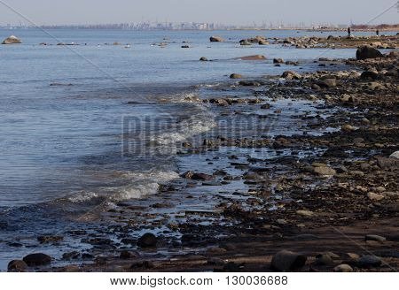 View of a rocky coast, sea, waves