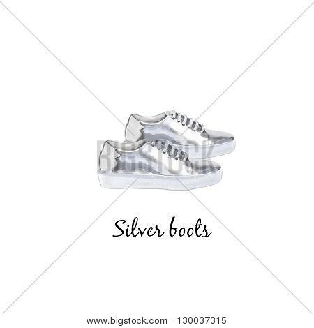 Gumshoes watercolor illustration isoladed on white background