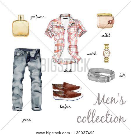 Men's collection watercolor outfit set isolated on white background