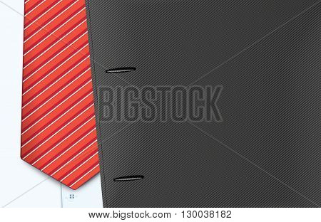 Vector illustration of jacket and tie, close-up