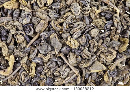 Dried Green Tea Leaves Texture