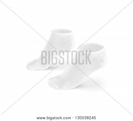Blank white short socks design mockup isolated clipping path. Pair sport cotton socks wear mock up. Small clear soft sock stand presentation. Male female plain socks template.