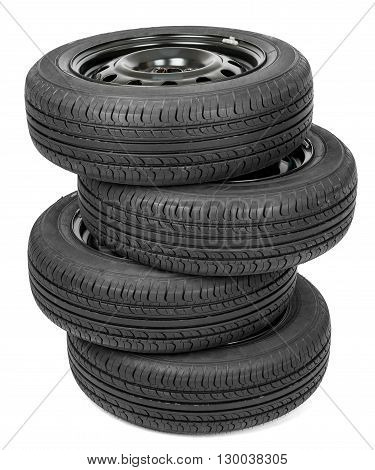 Black isolation rubber tire, on the white background