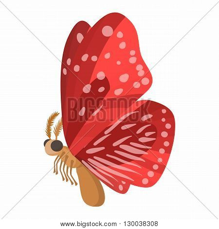Red butterfly with spots on wings icon in cartoon style isolated on white background