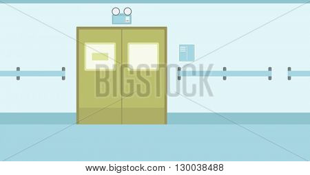 Background of hospital corridor with closed doors.