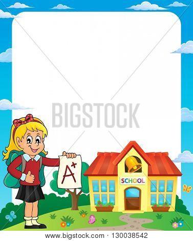 Frame with school girl 2 - eps10 vector illustration.