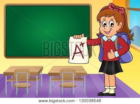 School girl with A plus grade theme 3 - eps10 vector illustration.