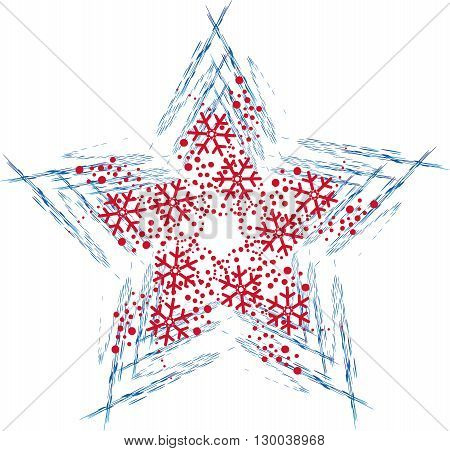 Illustration of Blue and Red Christmas star with snowflakes
